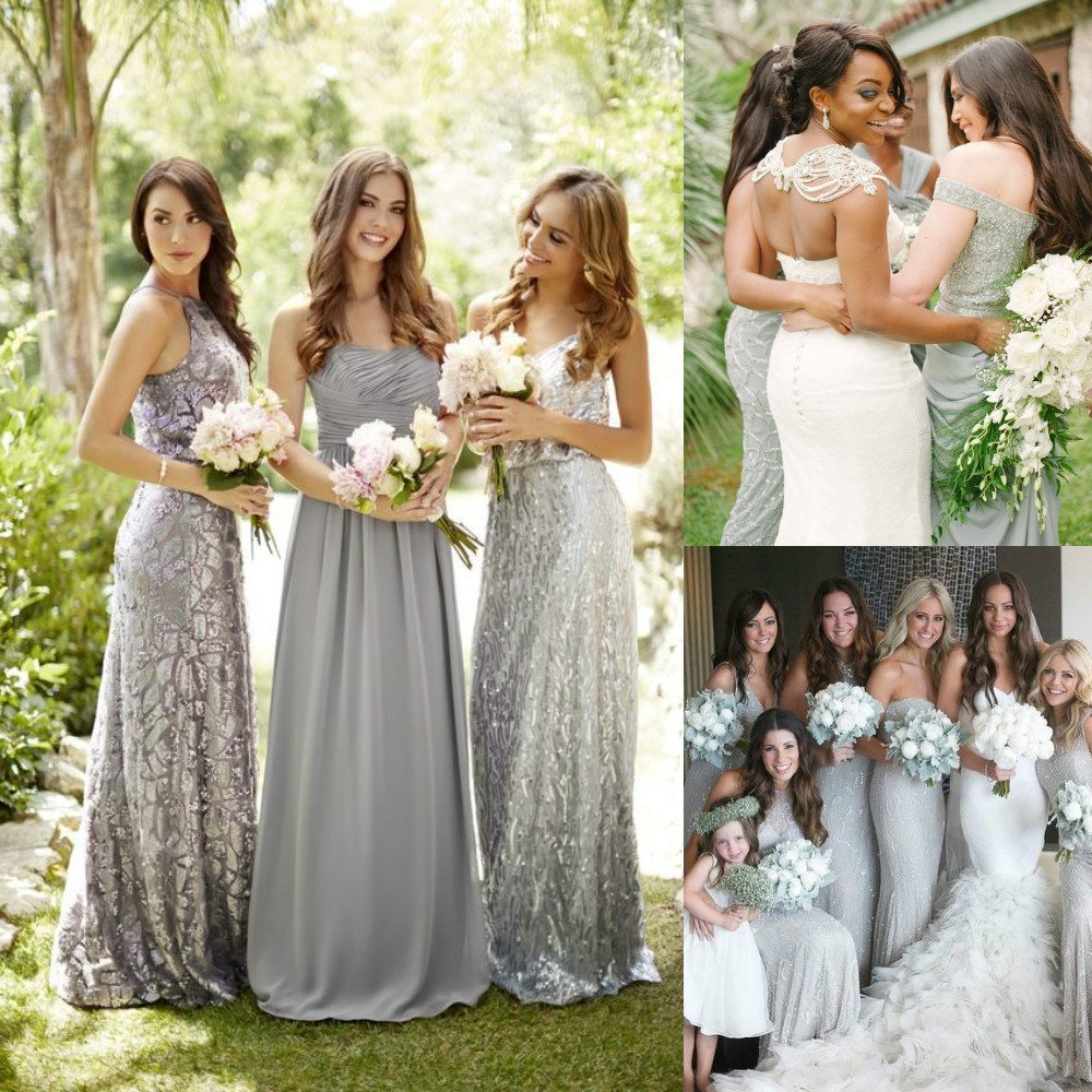 silver color bridesmaid dresses
