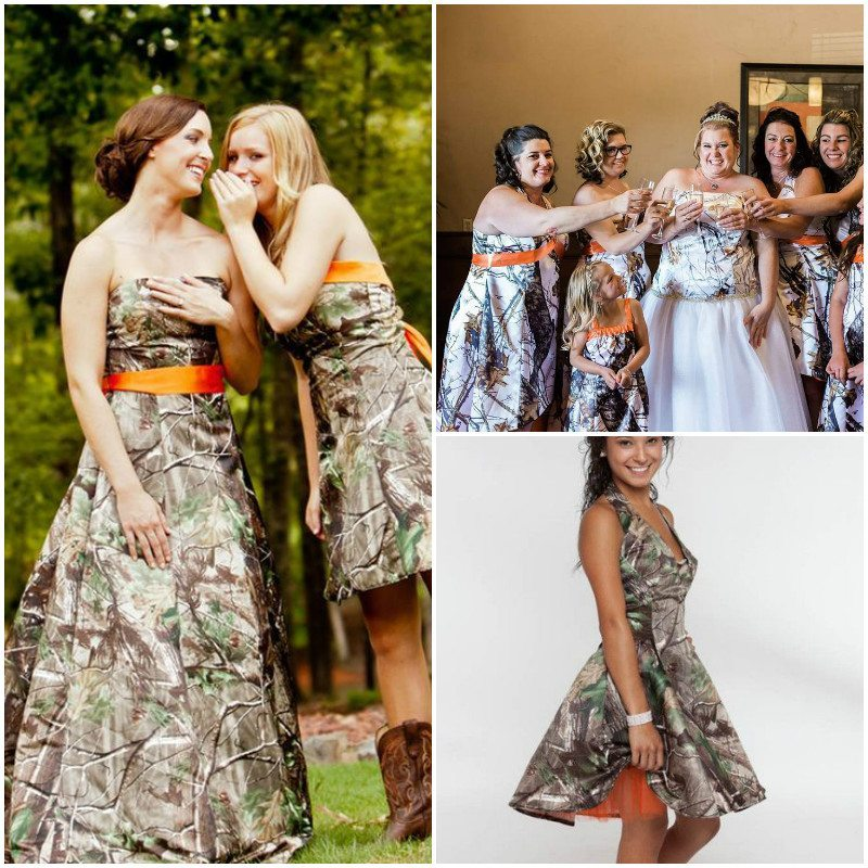 orange camo dress bridesmaids