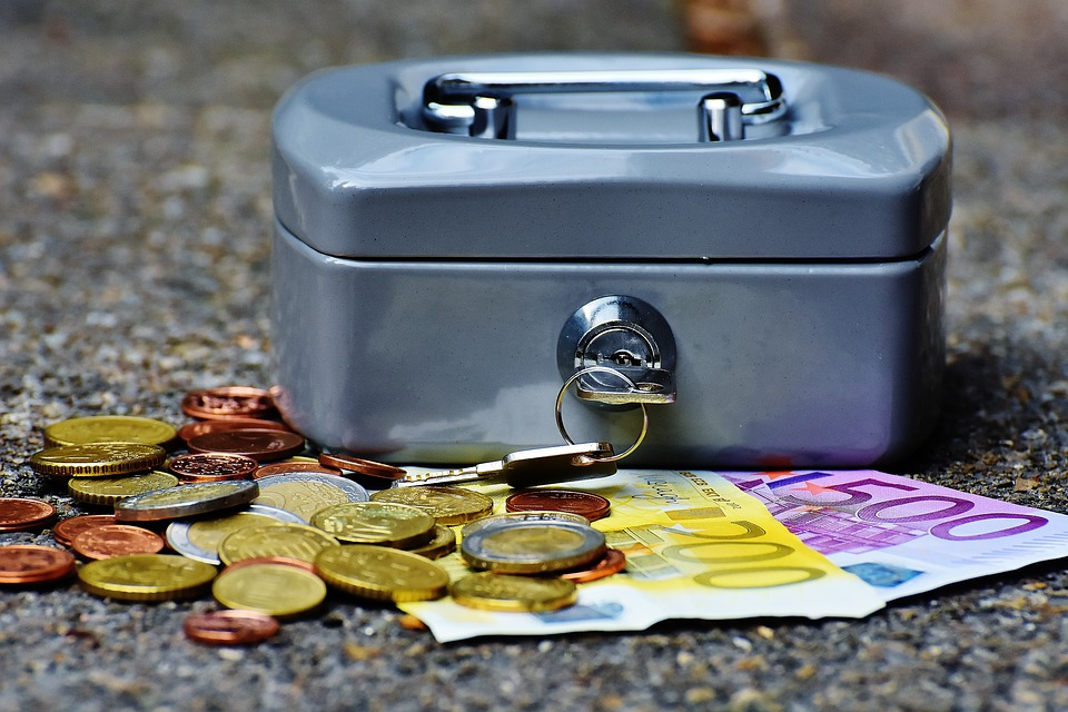 Coins and box