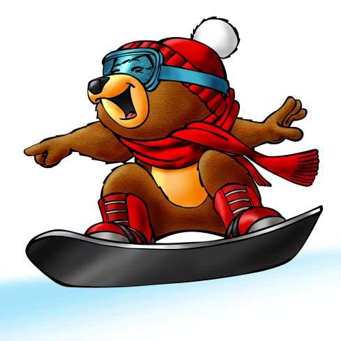 Baoqing Bär am Snowboard