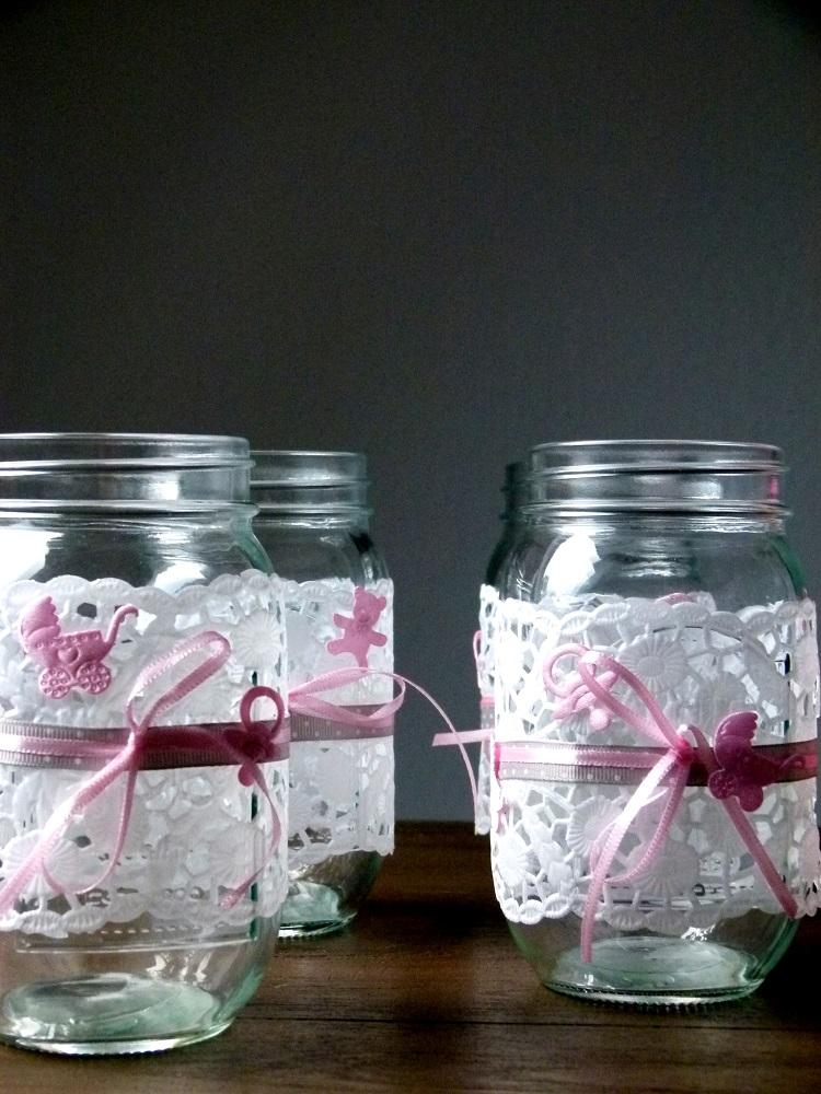 DIY Blumendeko fr die Taufe im Einmachglas