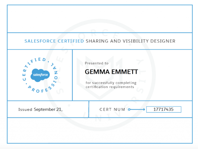 Gemma's Sharing and Visibility Certificate