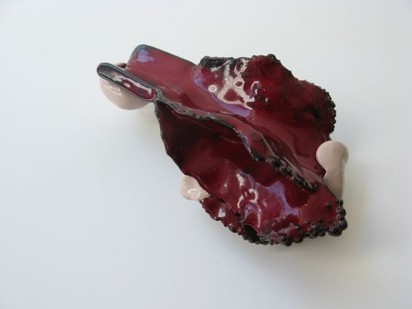 15. blossom delivery 6. brooch. copper, enameling, sculpey, paint