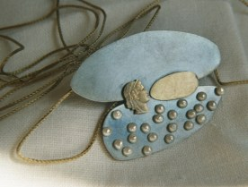 5. (the logos after the tide) the house for the voice. pendant. gold, fragment of coin, pearls, oxided silver