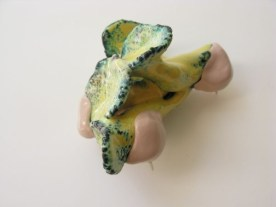 8. blossom delivery 3. brooch. copper, enameling, sculpey, paint