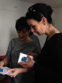 Gesine Hackenberg with Gemma Draper choosing her giveaway