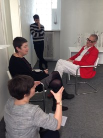 Ruudt Peters chats to Gemma Draper and Janet Hinchliffe McCutcheon