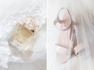 Bridal details, perfume and shoes