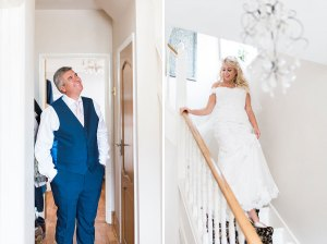 Bride waling down the stairs