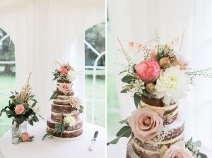 Naked wedding cake with pastel flowers