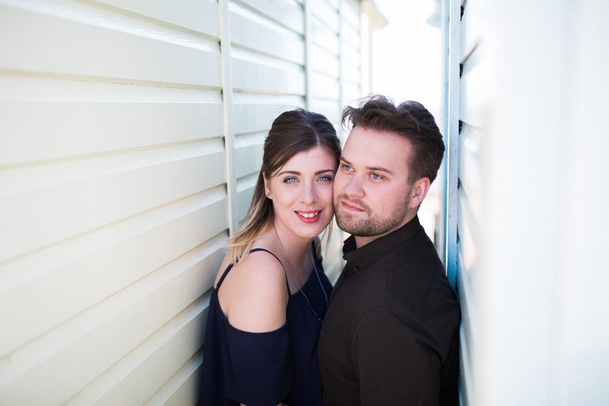 Engagement shoot by West Mersea beach huts