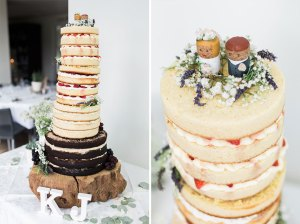 Naked wedding cake with wine cork cake toppers