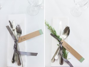 Bride and Groom rustic place setting
