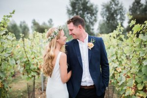 Wedding couple in a vineyard