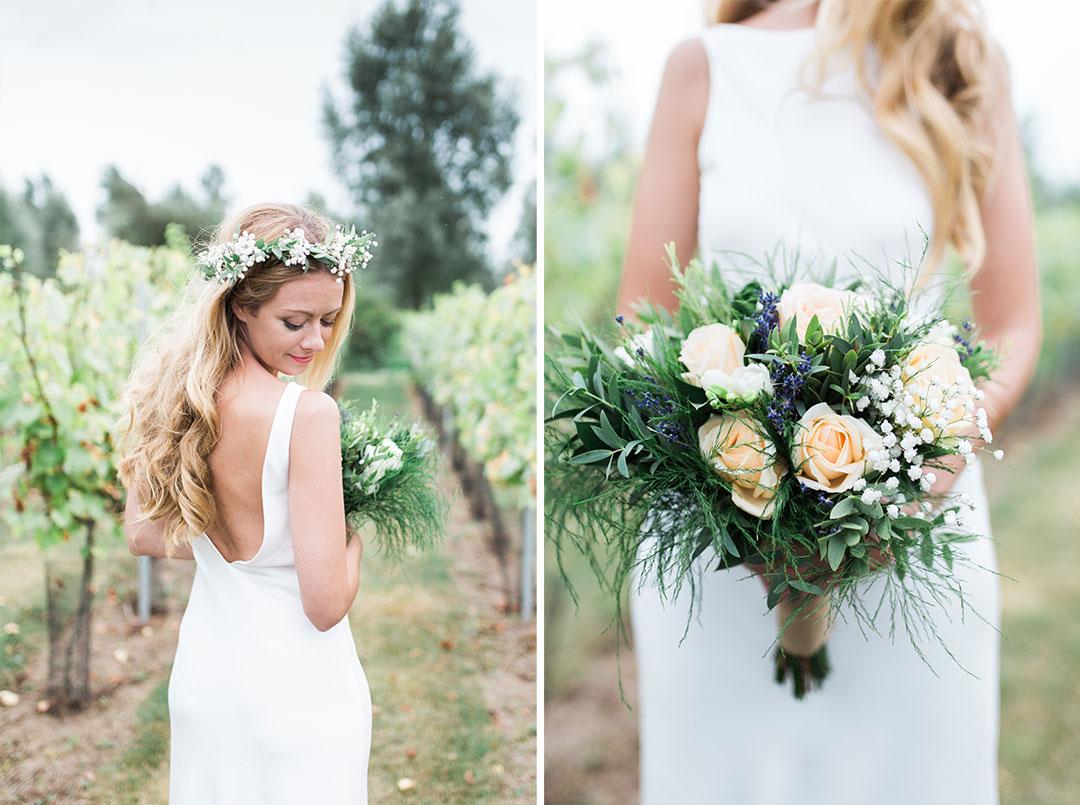 Bride in an Essex vineyard