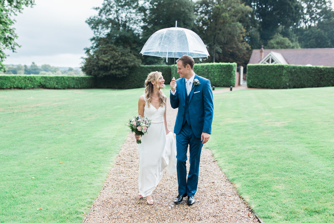 Rainy wedding at Maison Talbooth