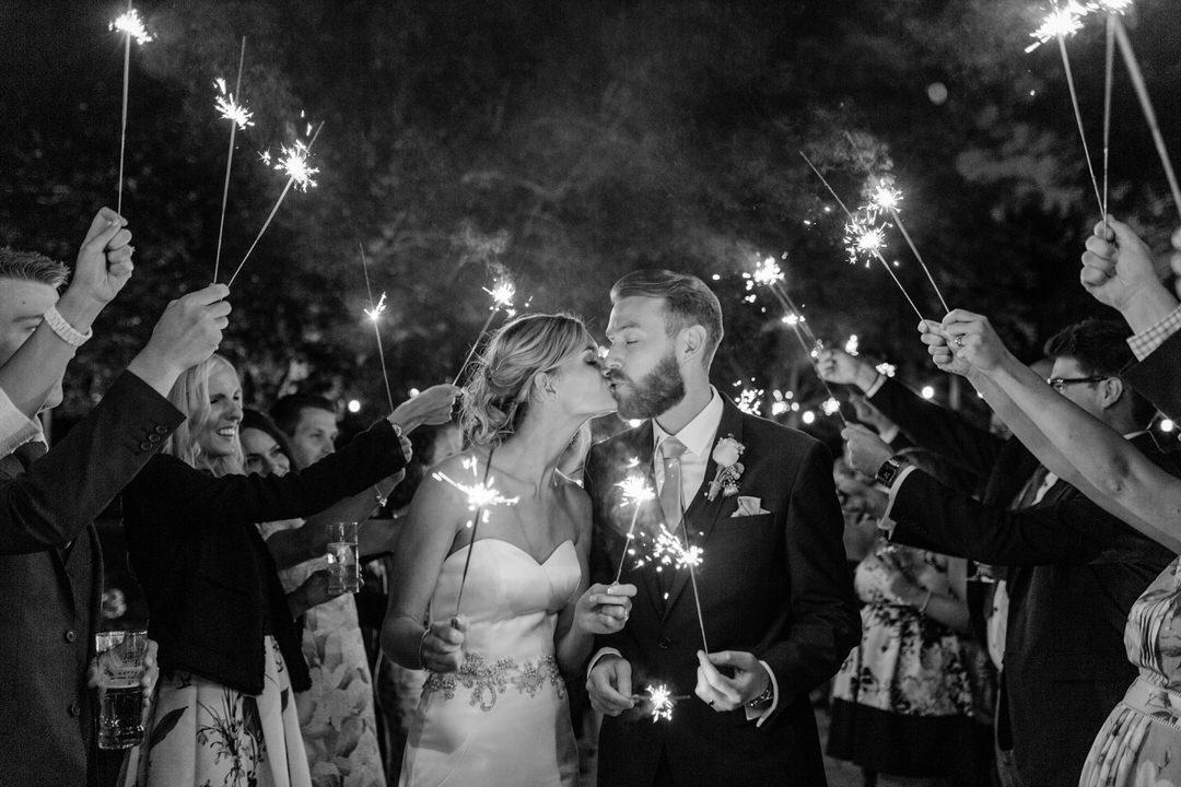sparklers at houchins wedding venue