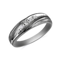 Mens Black Rhodium White Gold Diamond Promise Ring ...