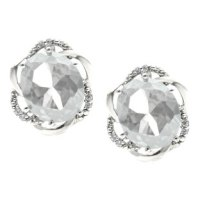 Simple Oval Cut White Topaz Diamond White Gold Stud ...