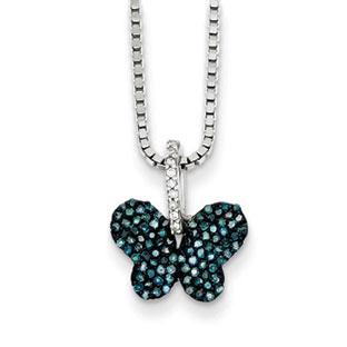 12 Carat Blue Diamond Butterfly Stud Earrings In Sterling