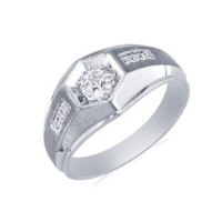 Men's Promise Ring - White Gold Diamond Promise Mens Ring ...