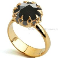 Black Diamond Crown Ring In 14K Yellow Gold From Gemone ...