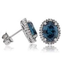 Alexandrite Oval Cut Silver Stud Earrings | GemRoss