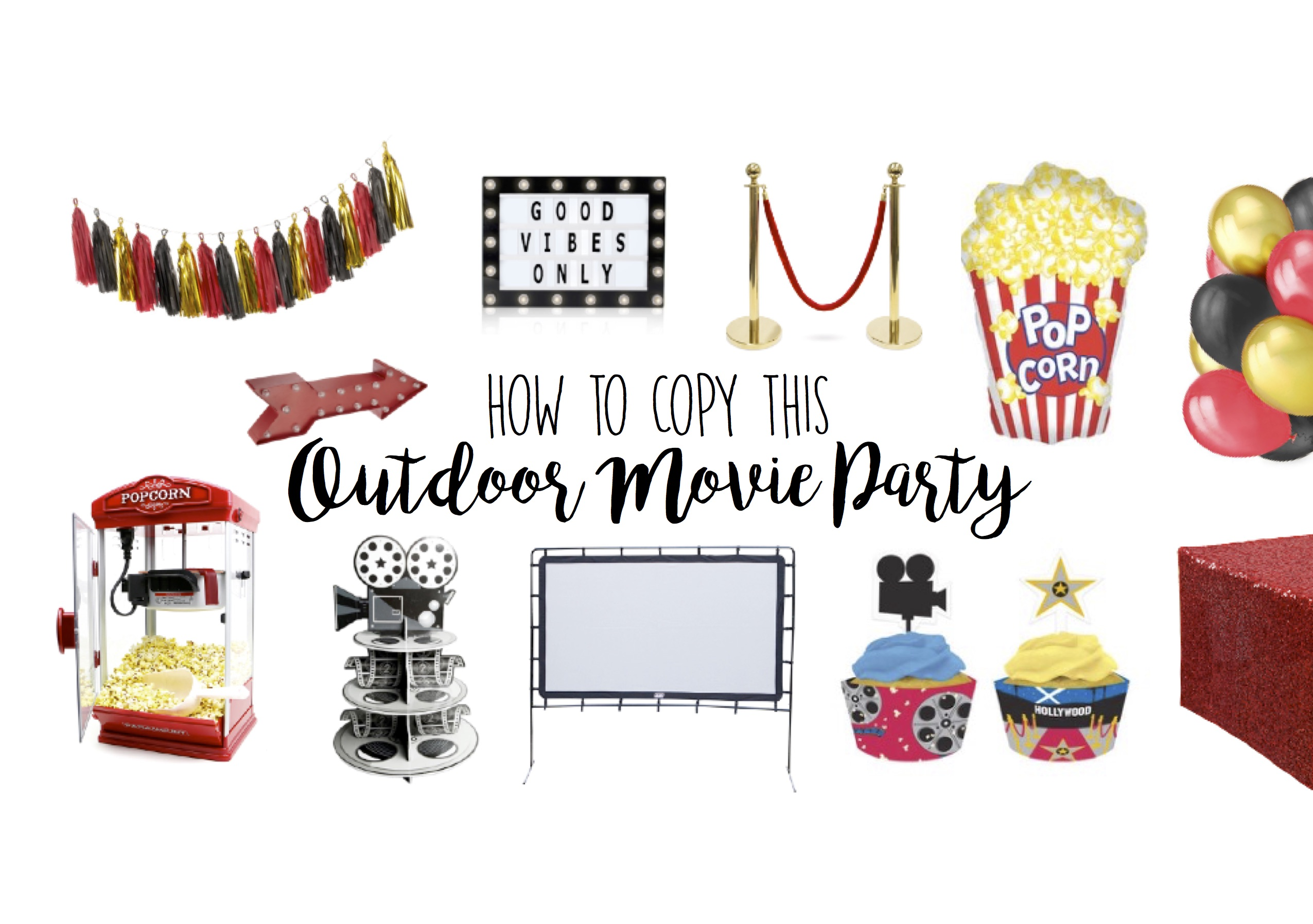 Outdoor Movie Party Theme Ideas - Dive-in Drive-in Birthday Party Theme