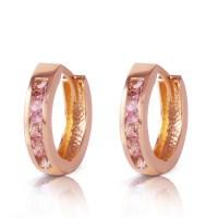 1.3 CTW 14K Solid Rose Gold Hoop Huggie Earrings Pink ...