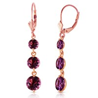7.2 Carat 14K Solid Rose Gold Amethyst Leverback Earrings ...