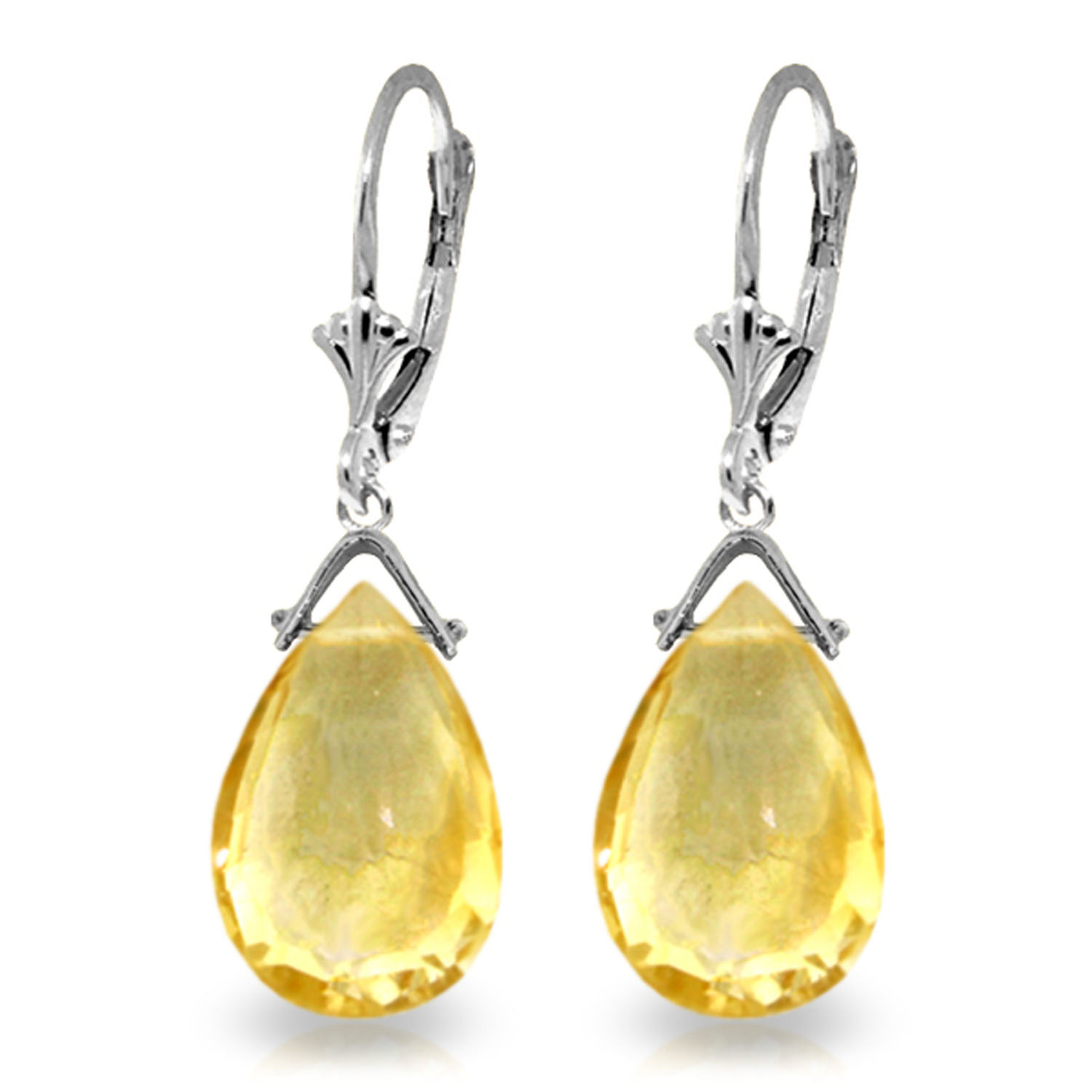 10.2 CTW 14K Solid White Gold I Ascertain Citrine Earrings