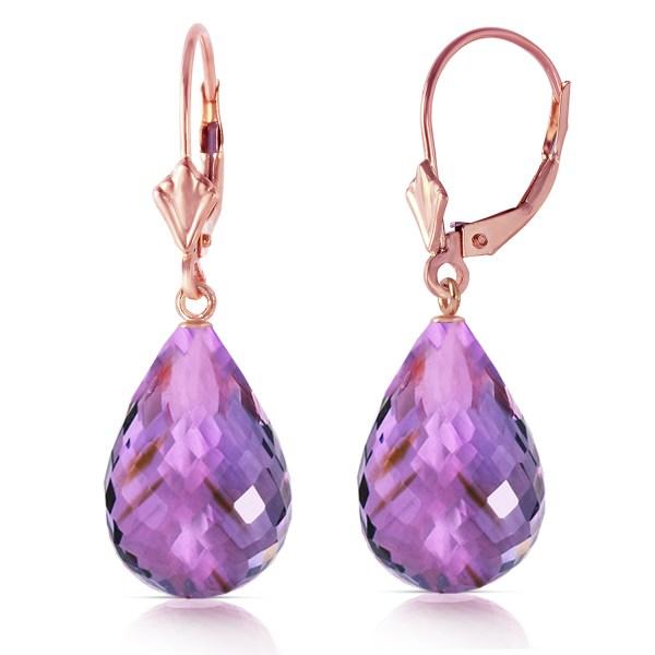 Carat 14k Solid Rose Gold Amethyst Briolette Swing Earrings