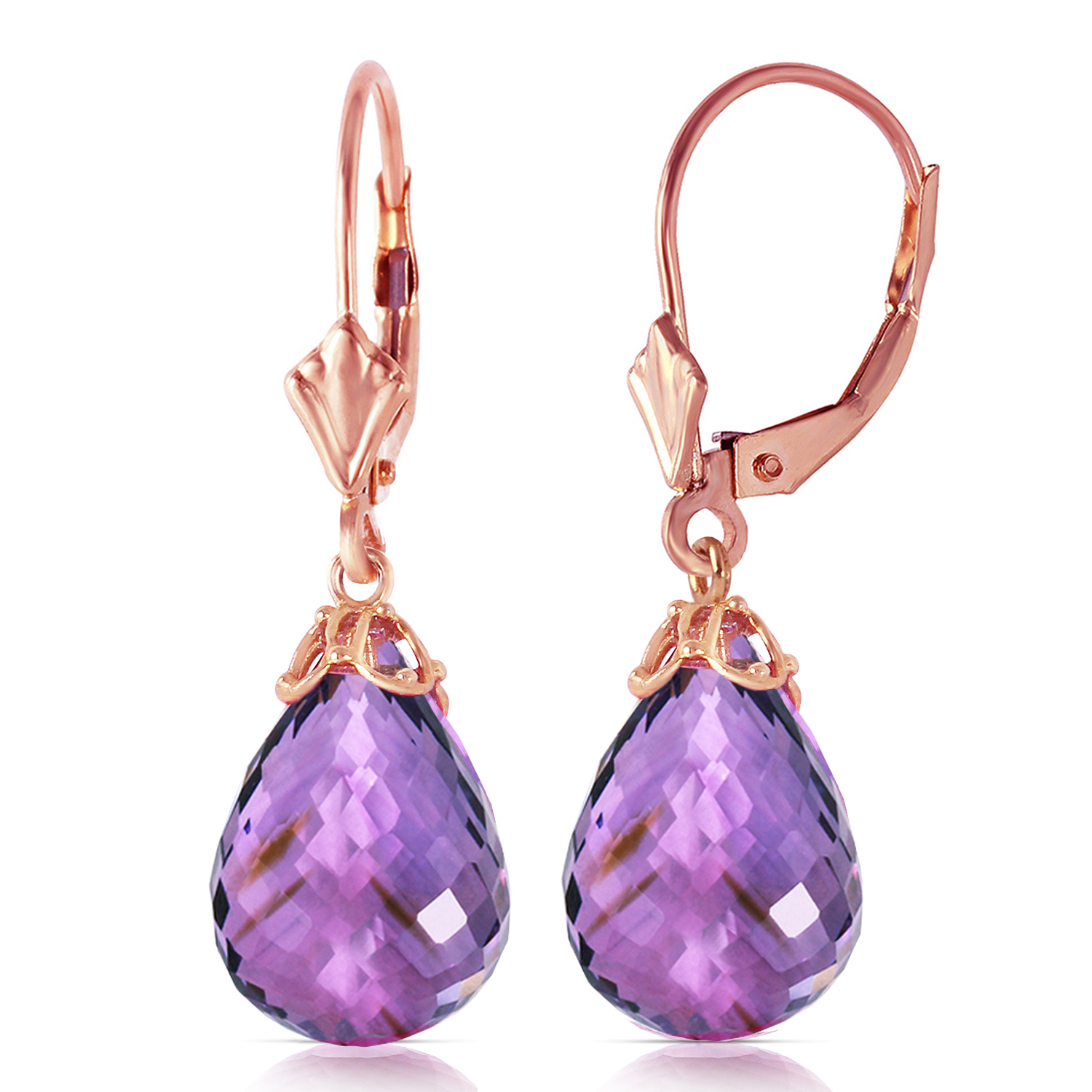 14 CTW 14K Solid Rose Gold Leverback Earrings Briolette