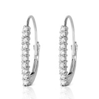 0.3 CTW 14K Solid White Gold Leverback Earrings Natural ...