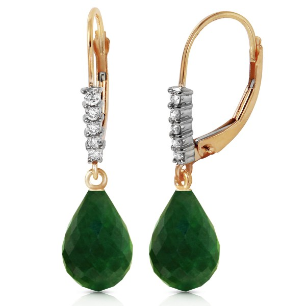 17.75 Ctw 14k Solid Gold Leverback Earrings Natural Diamond Emerald