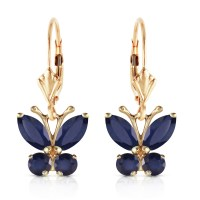 1.24 Carat 14K Solid Gold Butterfly Earrings Sapphire