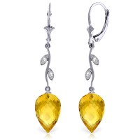 19.02 CTW 14K Solid White Gold Diamond Drop Citrine Earrings