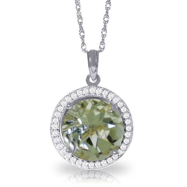 5.2 Ctw 14k Solid White Gold Fine Diamond Green Amethyst Necklace 16-24