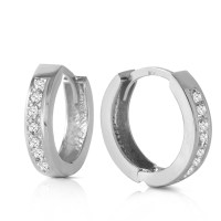 14K Solid White Gold Hoop Huggie Earrings with Diamonds | eBay