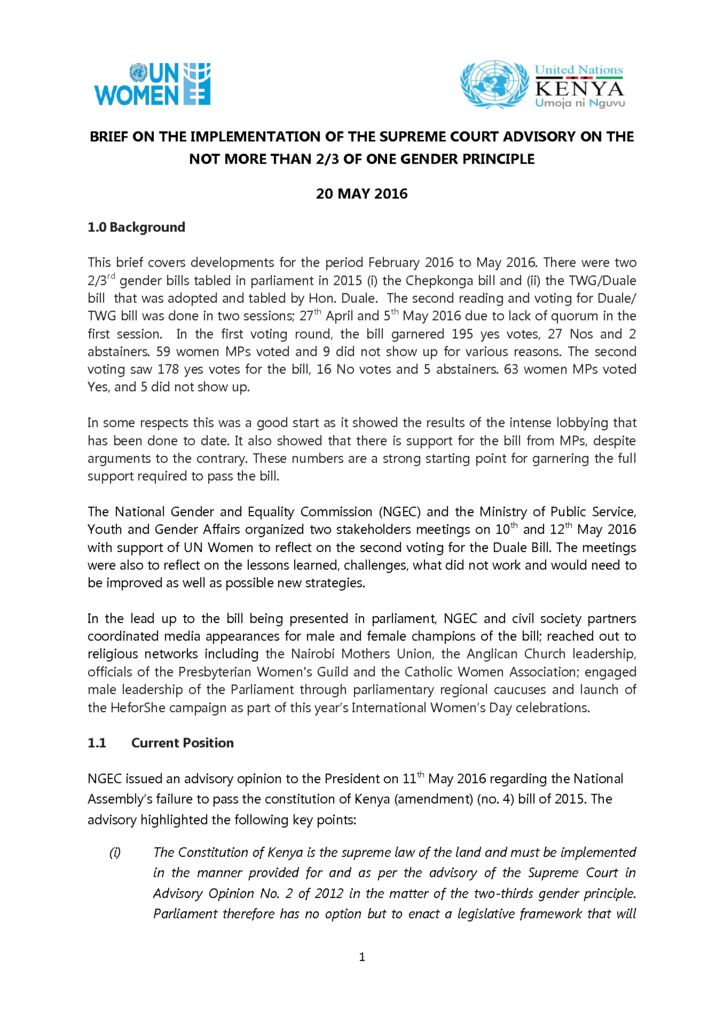 thumbnail of Brief on Two thirds Bill 2016