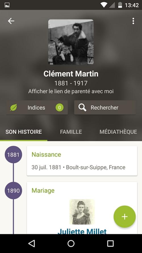 Généalogie sur Android Ancestry