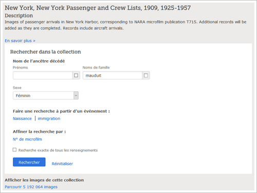 Les listes de passagers de Ellis Island accessibles gratuitement sur FamilySearch - Criteres recherche
