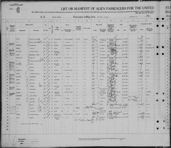 Les listes de passagers de Ellis Island accessibles gratuitement sur FamilySearch - Liste de passagers