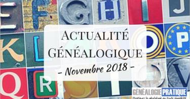 Actualité Généalogique Novembre 2018