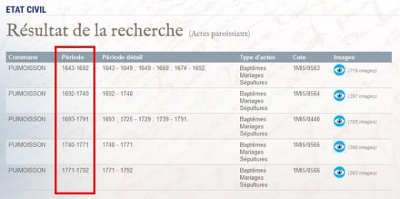 Liste des actes manquants en généalogie - Consulter des registres qui couvrent plusieurs années