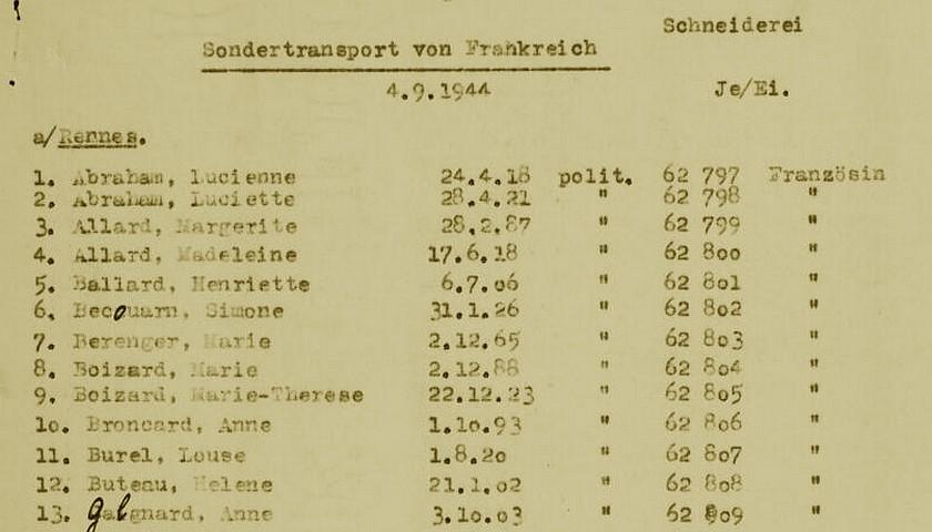 Relevé Ravensbruck transport 04 septembre 1944