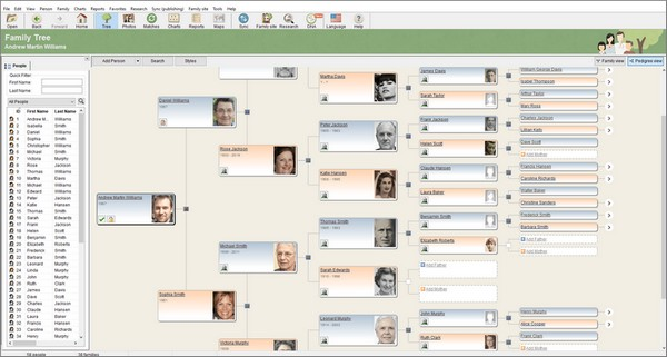 MyHeritage - Une vue Ascendance dans Family Tree Builder