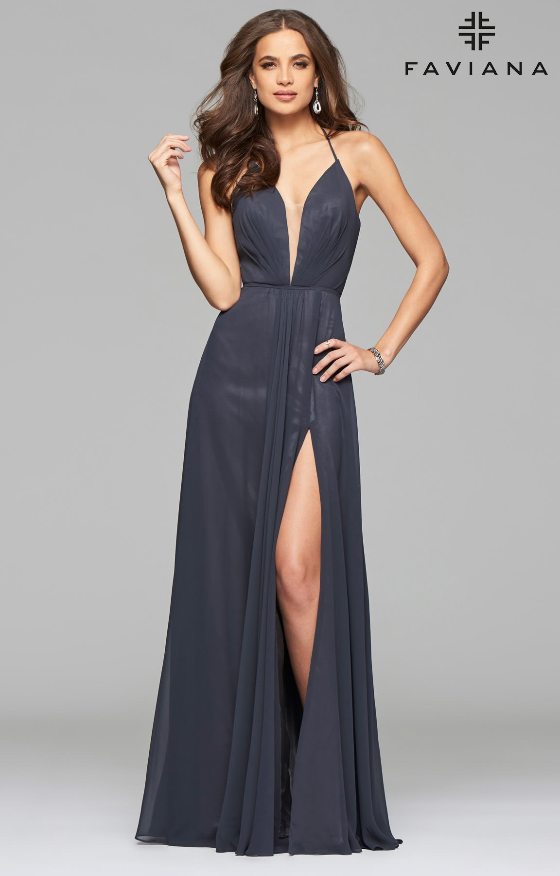 Faviana 7747  Open Corset Back Dress with Low Neckline