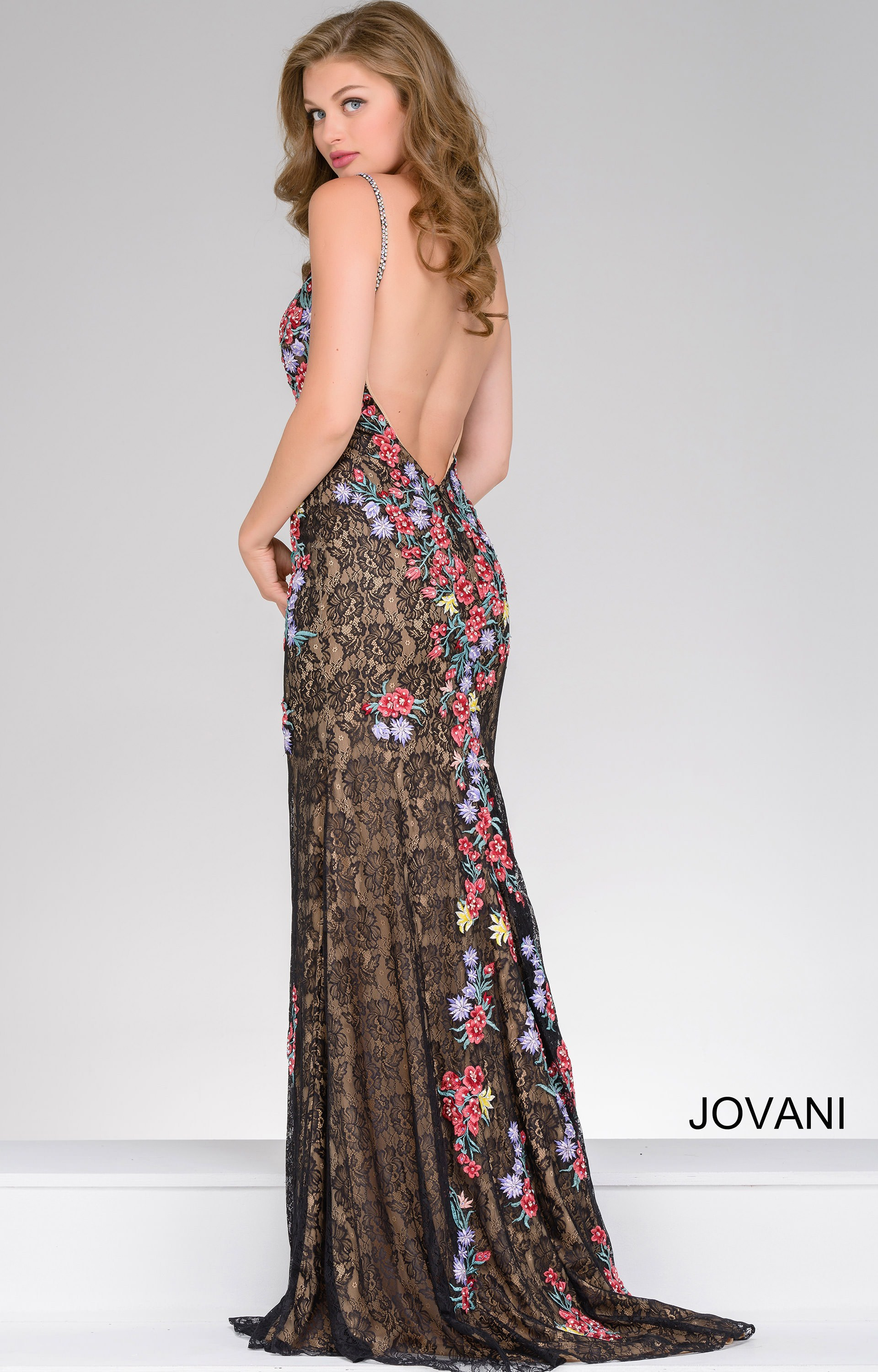 Jovani 48893  Embroidered Floral and Lace Dress Prom Dress