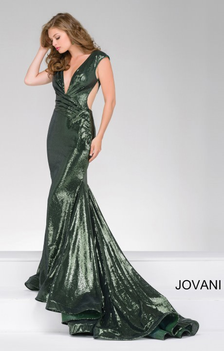 Jovani 56969  Fitted Sequin Deep V Neckline mermaid Dress